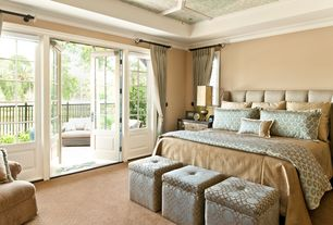 Traditional Master Bedroom with Carpet, Crown molding, French doors, can lights, Casement, Standard height
