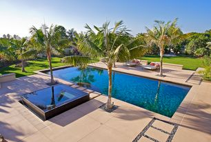 Contemporary Swimming Pool with exterior concrete tile floors, Pathway, Lap pool, exterior tile floors, Fence