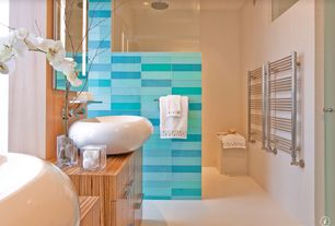 "Contemporary Master Bathroom with Flush, Subway Tile Outlet Aqua Glass 4"" x 12"" Subway Tile, European Cabinets, Rain shower"
