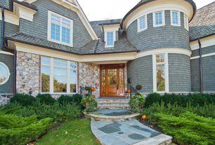 Cottage Front Door with Glass panel door, Pathway, exterior tile floors