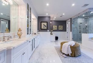 Contemporary Master Bathroom with Pental Calacatta Statuario Honed Marble, Flat panel cabinets, Complex marble counters