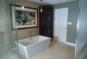 Contemporary Master Bathroom with Master bathroom, Flat panel cabinets, MS International Ramon Grey Limestone Tile, Flush