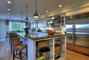 Modern Kitchen with Recessed lighting, Natural fiber chair, Industrial pendant light, Simple granite counters, Glass shelving