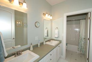 Traditional Full Bathroom with Double sink, Shower, Freestanding, Standard height, Soapstone, curtain showerdoor, Full Bath