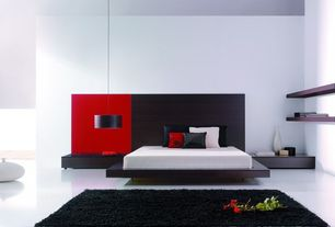 Contemporary Master Bedroom with Safavieh Handmade Posh Black Shag Rug (4' x 6'), High ceiling, Concrete floors, flush light