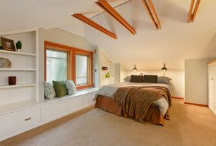 Craftsman Master Bedroom with flush light, Window seat, Wall sconce, Exposed beam, Built-in bookshelf, Carpet