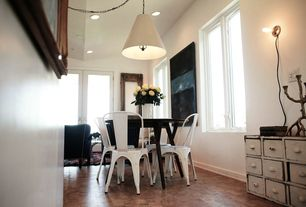 Eclectic Dining Room with Wall sconce, travertine floors, West Elm Mid Century Round Dining Table, French doors