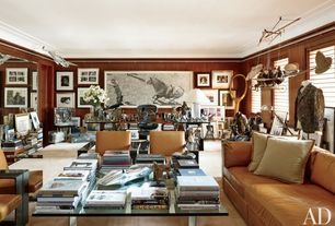 Eclectic Home Office with flat door, Standard height, Crown molding, Concrete floors