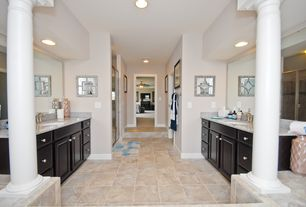 Traditional Master Bathroom with Flat panel cabinets, Standard height, can lights, Simple granite counters, flush light
