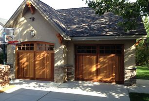 Craftsman Garage with Cathedral ceiling, Wainscotting, Maxim burnished coldwater 2 light outdoor wall sconce, Concrete tile