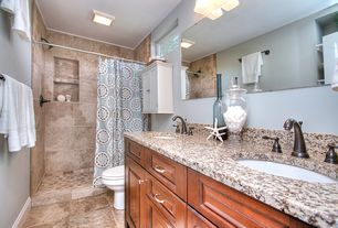Traditional Master Bathroom with Master bathroom, partial backsplash, Undermount sink, Raised panel, Flat panel cabinets
