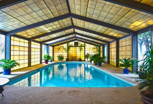 Tropical Swimming Pool with Transom window, Pathway, Stained glass window, Indoor pool, exterior stone floors, Skylight