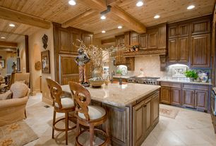 Rustic Kitchen with Built In Panel Ready Refrigerator, electric cooktop, Kitchen island, Breakfast bar, U-shaped, can lights