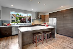 Contemporary Kitchen with Silestone Quartz Mythology Series In White Zeus Extreme, L-shaped, European Cabinets, Breakfast bar
