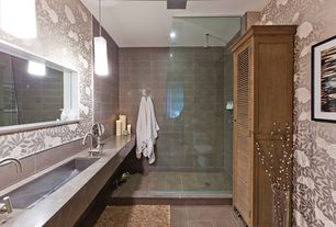 "Contemporary Master Bathroom with Stainless steel sink, Oregon tile and marble - ginza porcelain in 12"" x 24"" tiles, Shower"