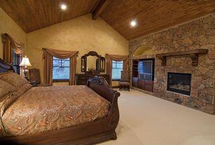 Rustic Guest Bedroom with Carpet, Custom Pearl Mantels Shenandoah Fireplace Mantel Shelf, stone fireplace, Built-in bookshelf