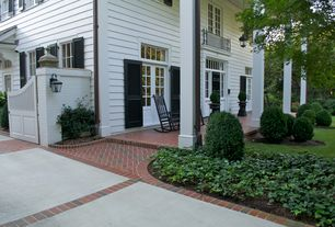 Traditional Porch with exterior brick floors, Pathway, Transom window, Gate, Louvered door, Screened porch, Glass panel door