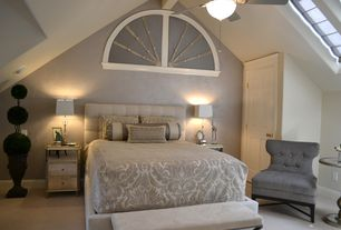 Modern Guest Bedroom with Tufted Velvet Upholstered Headboard - King - Velvet, Skylight, Exposed beam, High ceiling, Paint 1