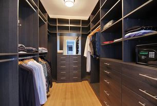 Contemporary Closet with Hardwood floors, flush light, Built-in bookshelf, Paint, Standard height