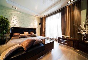 Contemporary Master Bedroom with Built-in bookshelf, Hardwood floors, Recessed ceiling