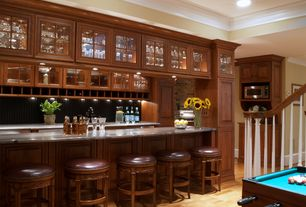 Craftsman Bar with Crown molding, Hardwood floors