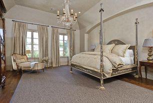 Traditional Master Bedroom with Chandelier, Hardwood floors