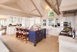 Country Kitchen with Breakfast bar, Wood counters, Custom hood, Flat panel cabinets, Farmhouse sink, Breakfast nook, Flush