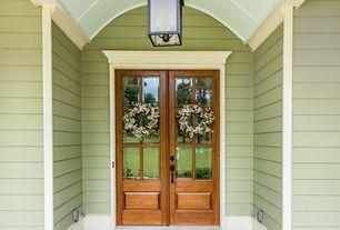 Traditional Front Door with Federal Hanging Lantern - 3 Light, exterior tile floors, Glass panel door