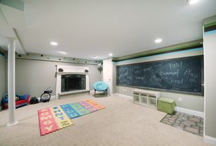 Craftsman Playroom with Carpet, Cement fireplace, Foam floor mat, Turquoise papasan chair, Mural, Columns