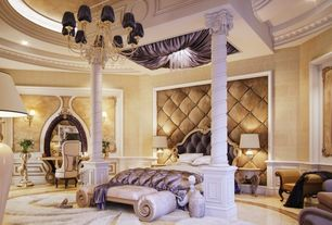 Traditional Master Bedroom with Wall sconce, Chandelier, Candle style crystal chandelier, Columns, sandstone floors