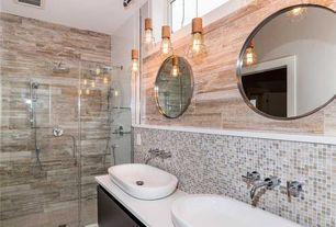 Contemporary Master Bathroom with European Cabinets, Vessel sink, Handheld showerhead, Standard height, full backsplash