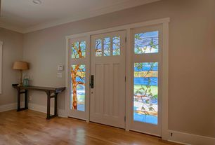 Craftsman Entryway with Standard height, Hardwood floors, specialty door, Stained glass window, Crown molding