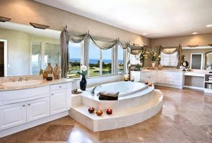 Traditional Master Bathroom with Simple marble counters, Duetta 6642 jacuzzi tub, Chameleon stone walnut travertine, Flush