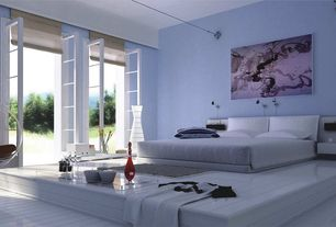 Contemporary Master Bedroom with Hardwood floors, Standard height, bedroom reading light, French doors