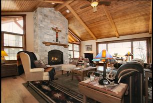 Eclectic Living Room with picture window, can lights, flush light, double-hung window, Fireplace, Hardwood floors
