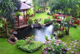 Tropical Landscape/Yard with Pathway, Gazebo, Pond, exterior stone floors, Exterior bridge