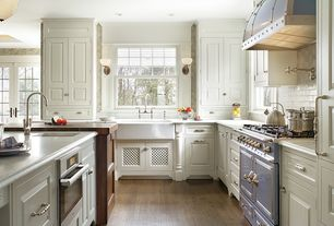 Traditional Kitchen with Hardwood floors, L-shaped, flush light, Crown molding, Undermount sink, Flat panel cabinets