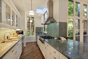 Traditional Kitchen with Traffic master farmstead hickory laminate flooring, Ms international arabian black granite, Casement