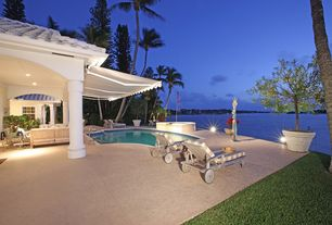 Tropical Patio with Pathway, exterior stone floors, exterior awning