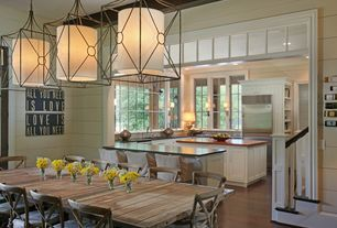 Traditional Dining Room with Vinyl Crafts All You Need Is Love Wood Sign, High ceiling, Pendant light, Exposed beam