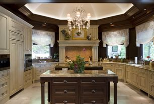 Traditional Kitchen with Casement, built-in microwave, stone tile floors, High ceiling, Undermount sink, partial backsplash