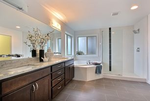 Contemporary Master Bathroom with Complex Marble, Complex marble counters, Master bathroom, Undermount sink, Double sink
