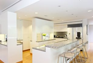 Contemporary Kitchen with U-shaped, Simple granite counters, European Cabinets, Simple Granite, Flush, Undermount sink