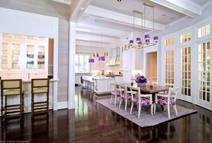 Contemporary Dining Room with Restoration hardware klismos chair, Restoration hardware adele upholstered armchair, Chandelier
