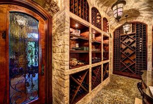 Mediterranean Wine Cellar with Pendant light, Standard height, Acclaim lighting matte black pendant, can lights, French doors