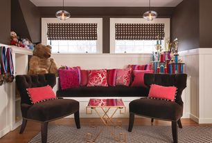 Contemporary Playroom with Paint 1, Roman shades, Window seat, Casement, Built-in bookshelf, Wainscotting, Hardwood floors