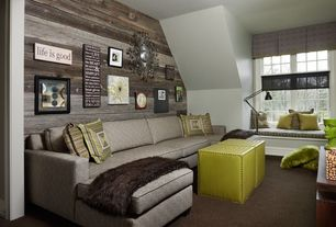 Contemporary Living Room with Casement, Carpet, Standard height, Window seat