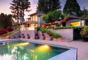 Contemporary Swimming Pool with Pathway, exterior tile floors, Trellis, Raised beds