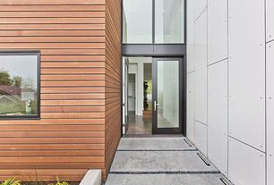 Modern Front Door with Transom window, exterior tile floors, French doors, exterior concrete tile floors, Pathway