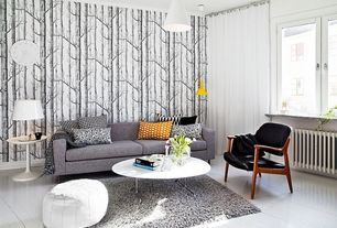 Contemporary Living Room with Casement, Crown molding, Faux leather pouf, Standard height, Modern lacquer coffee table